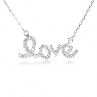 """Strieborný náhrdelník 925, prívesok """"love"""" so zirkónmi, jemná retiazka"""