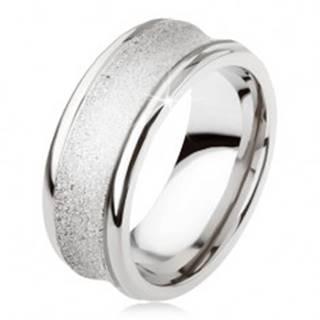 Titánový prsteň - strieborná farba, trblietavý, prehĺbený stredný pás - Veľkosť: 54 mm