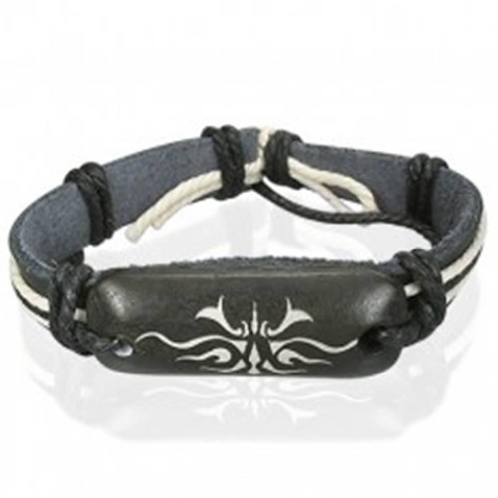 Šperky eshop Čierny kožený náramok Tribal symbol