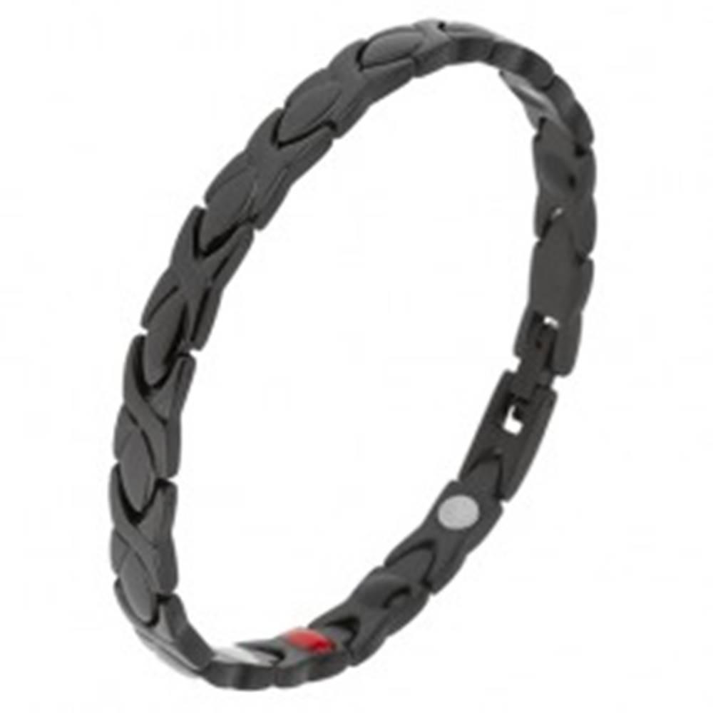 Šperky eshop Čierny náramok z ocele, lesklé články, glazúrovaný povrch, magnety