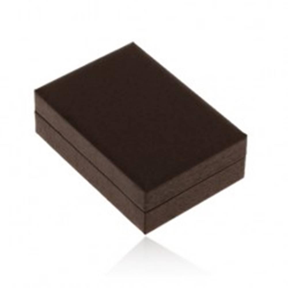 Šperky eshop Darčeková krabička na náušnice, tmavohnedá imitácia dreva, jemné čierne zárezy