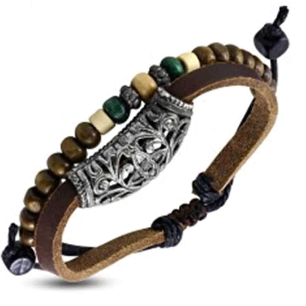 Šperky eshop Kožený náramok - pás s kovovou ozdobou a šnúrka s korálkami