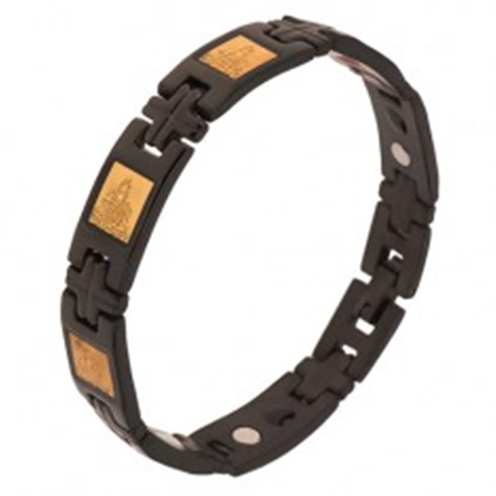 Šperky eshop Lesklý náramok z chirurgickej ocele, čierna farba, H články, krížiky, magnety - Dĺžka: 200 mm
