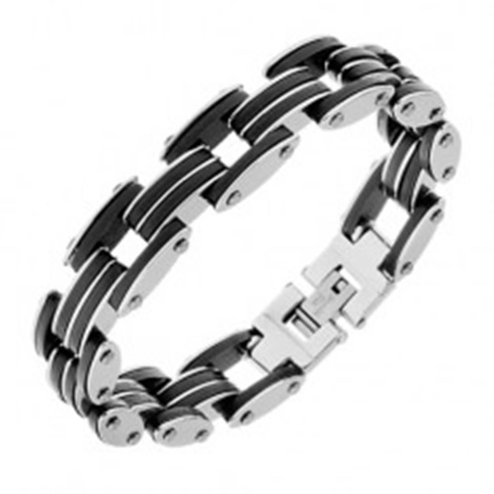 Šperky eshop Lesklý oceľový náramok - striedajúce sa tenké gumeno-oceľové pásy