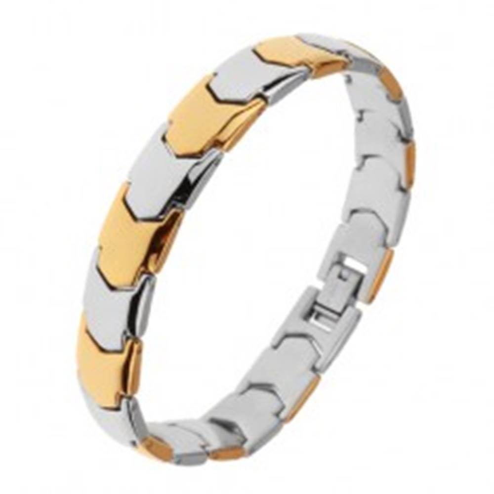 Šperky eshop Lesklý oceľový náramok, Y - články v zlatom a striebornom odtieni