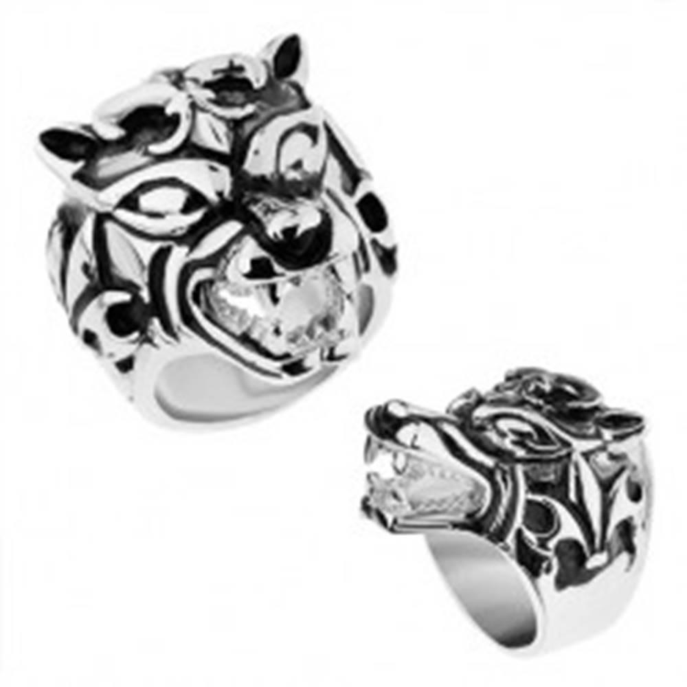Šperky eshop Masívny prsteň z ocele 316L, vypuklý patinovaný vlk, Fleur de Lis - Veľkosť: 57 mm
