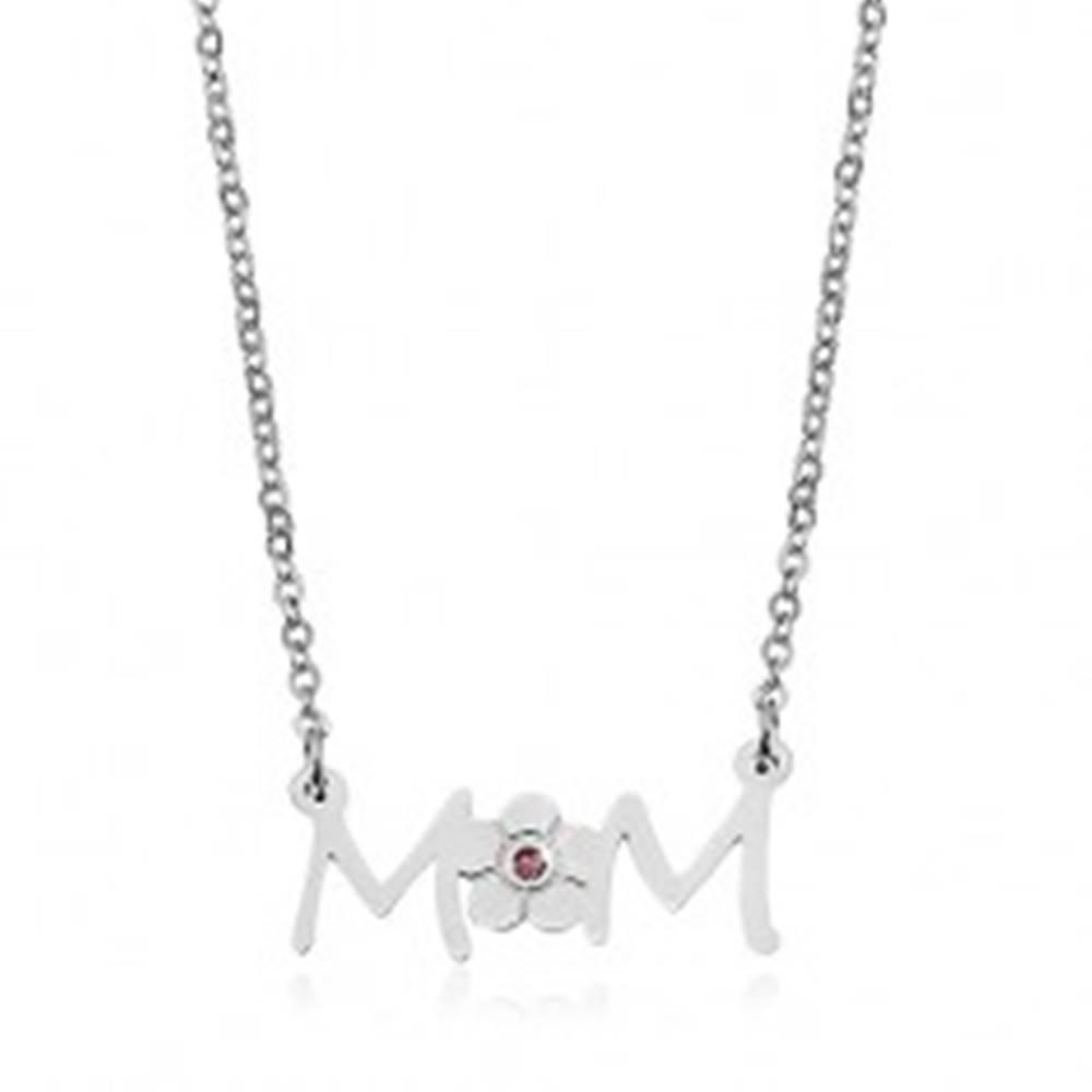 Šperky eshop Náhrdelník z chirurgickej ocele - retiazka a prívesok s kvetom - nápis MOM