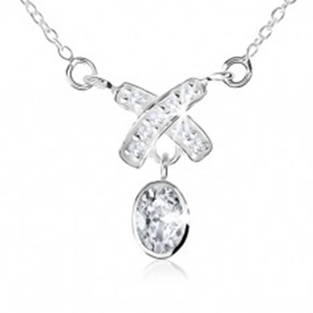 """Šperky eshop Náhrdelník zo striebra 925, prívesok """"X"""" a visiaci ovál, číre zirkóny"""
