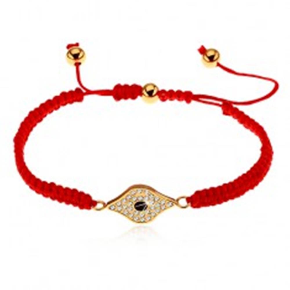 Šperky eshop Nastaviteľný červený náramok zo šnúrok, symbol oka zdobený čírymi zirkónmi