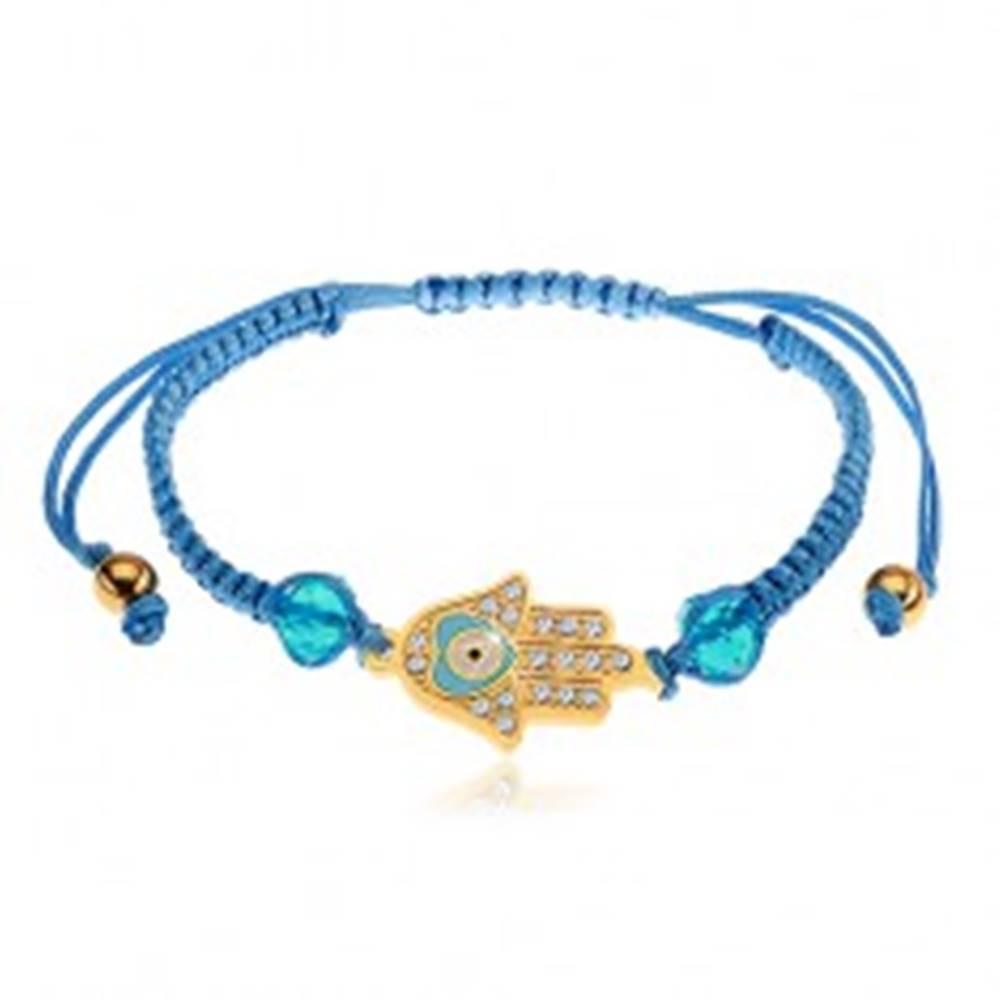 Šperky eshop Nastaviteľný náramok na ruku z modrých šnúrok, symbol Hamsa, číre zirkóny