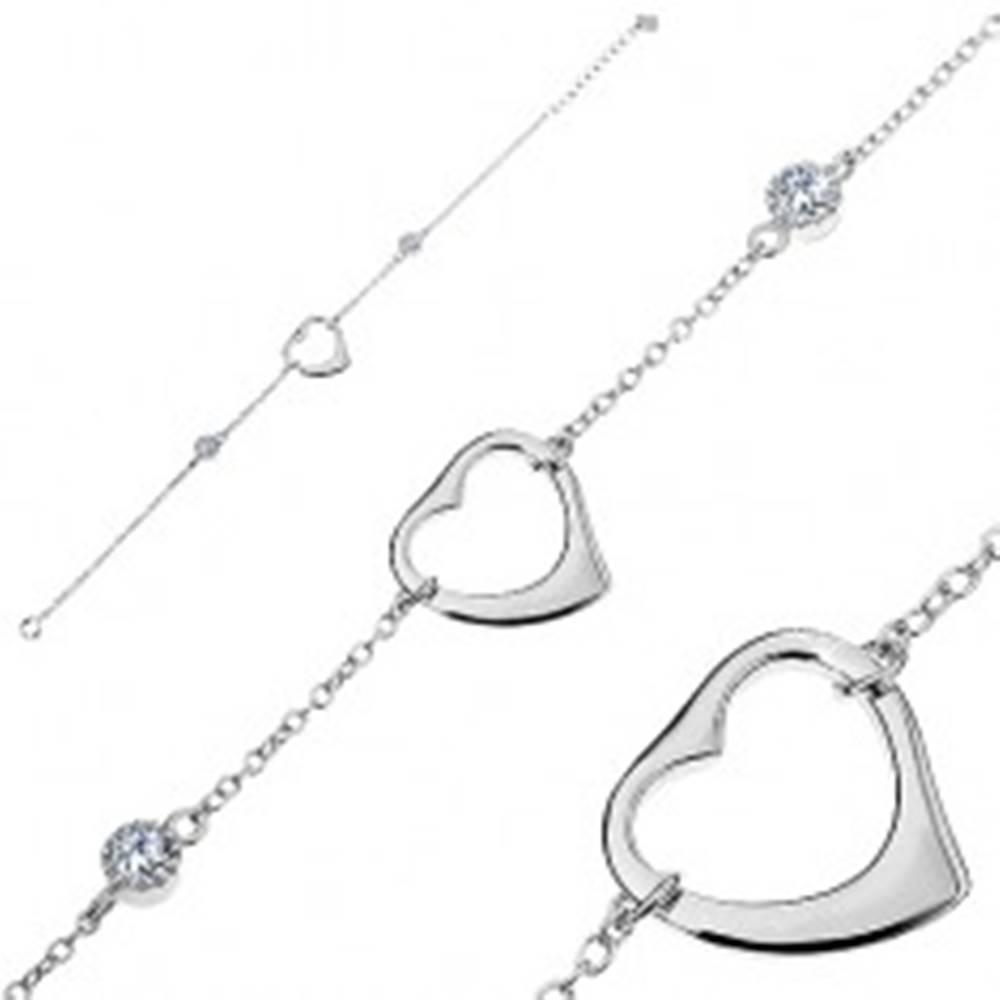 Šperky eshop Nastaviteľný náramok - striebro 925, lesklá srdcová kontúra, dva okrúhle zirkóny