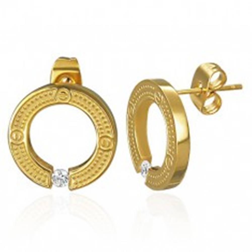 Šperky eshop Oceľové náušnice - kruh so vsadeným zirkónom, puzetky