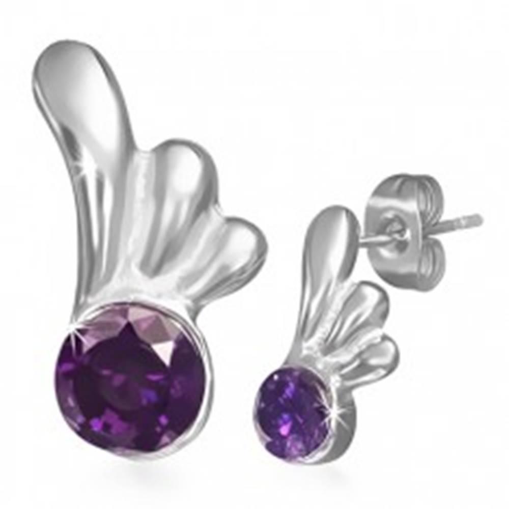 Šperky eshop Oceľové náušnice - puzetky s fialovým očkom a krídlom anjela
