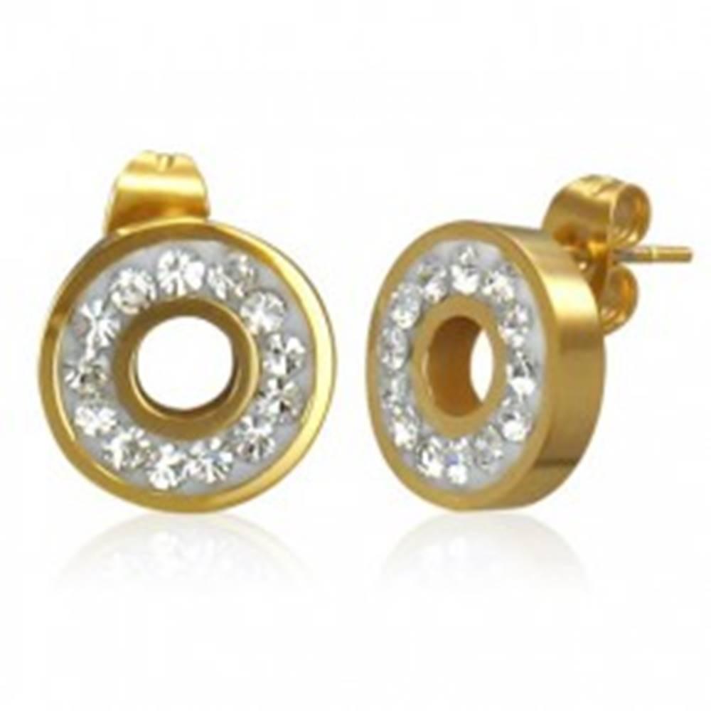 Šperky eshop Oceľové náušnice zlatej farby - krúžok vykladaný ligotavými čírymi zirkónmi