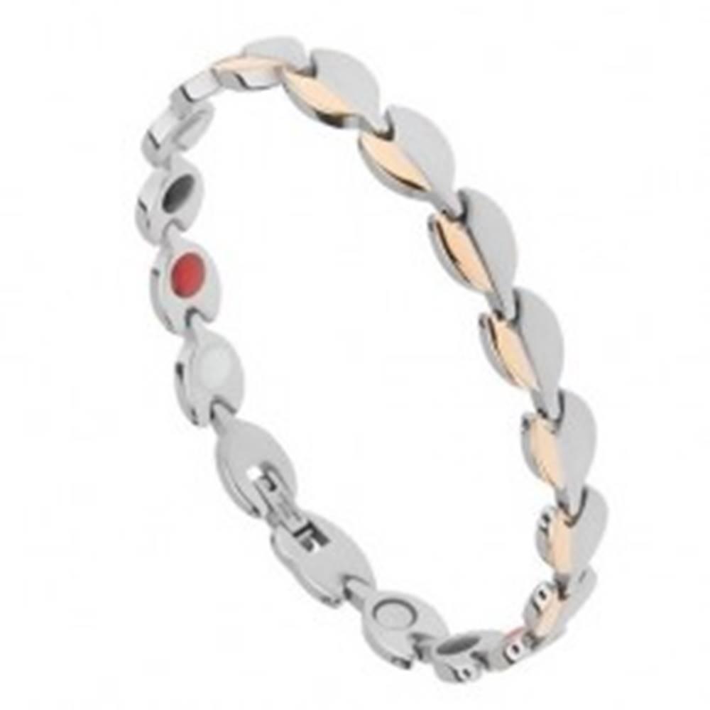 Šperky eshop Oceľový náramok, lesklé a matné lístky zlatej a striebornej farby, magnety
