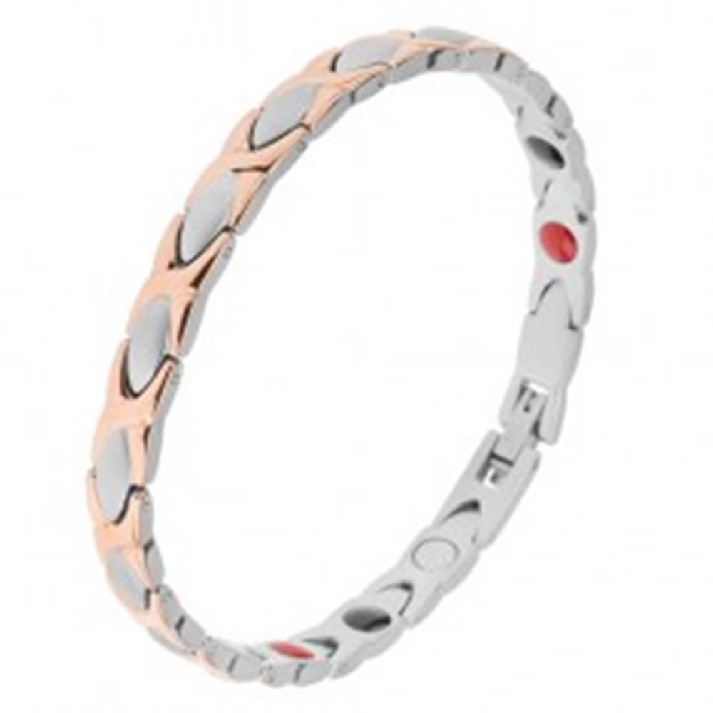 """Šperky eshop Oceľový náramok medenej a striebornej farby, články """"X"""" a ovály, magnety"""