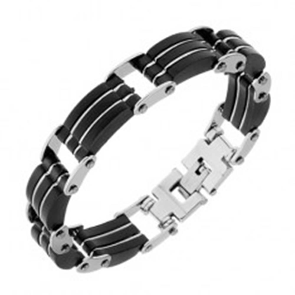 Šperky eshop Oceľový náramok, trojité čierne gumené časti, pásiky striebornej farby