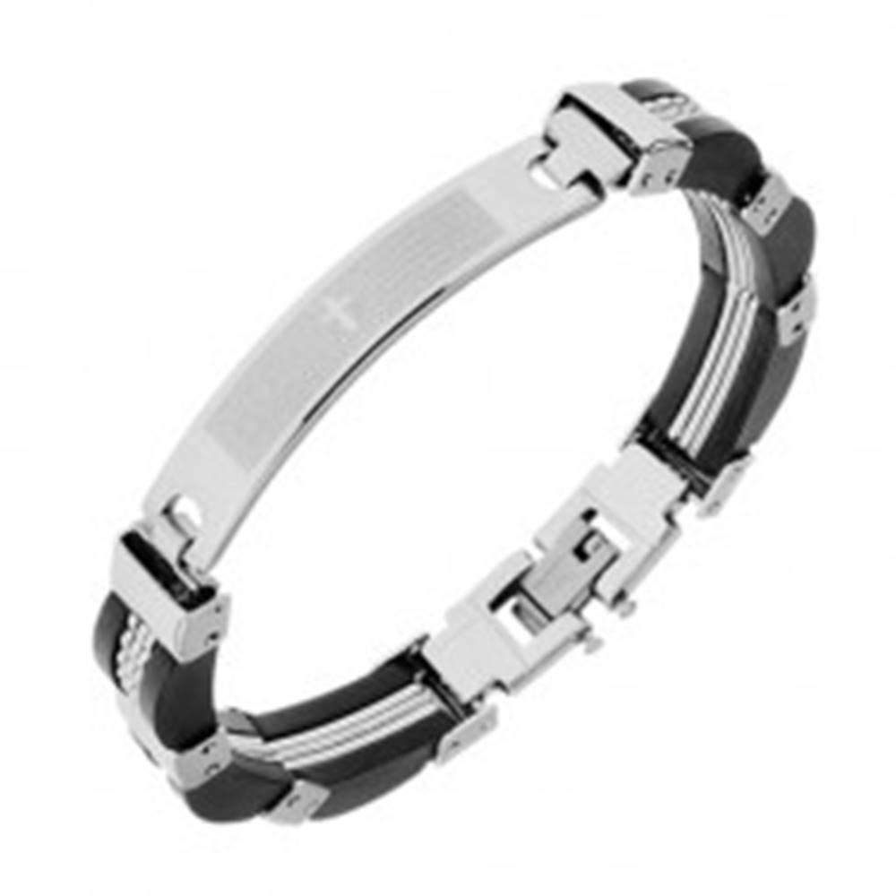 Šperky eshop Oceľový náramok, zaoblená známka s modlitbou, gumeno-oceľové články