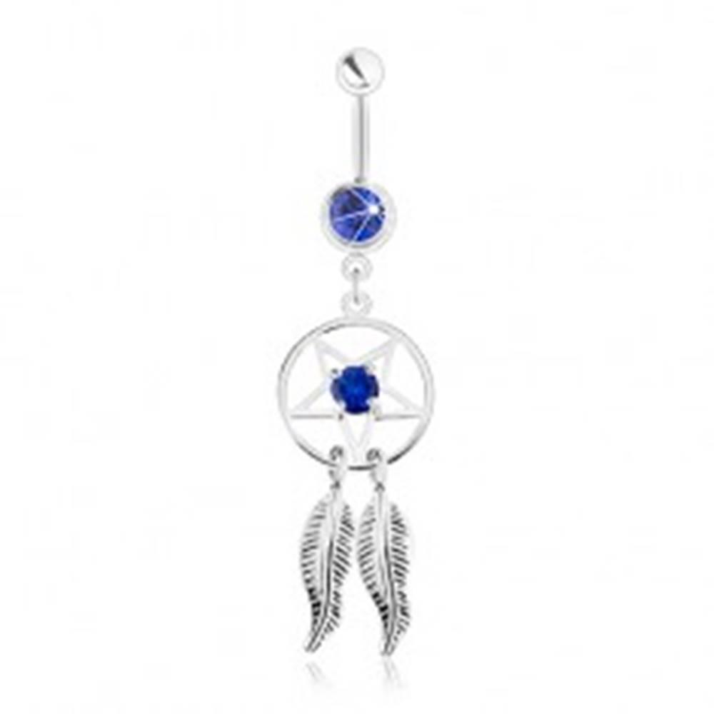 Šperky eshop Oceľový piercing do brucha, lapač snov - pentagram, pierka, tmavomodré zirkóny