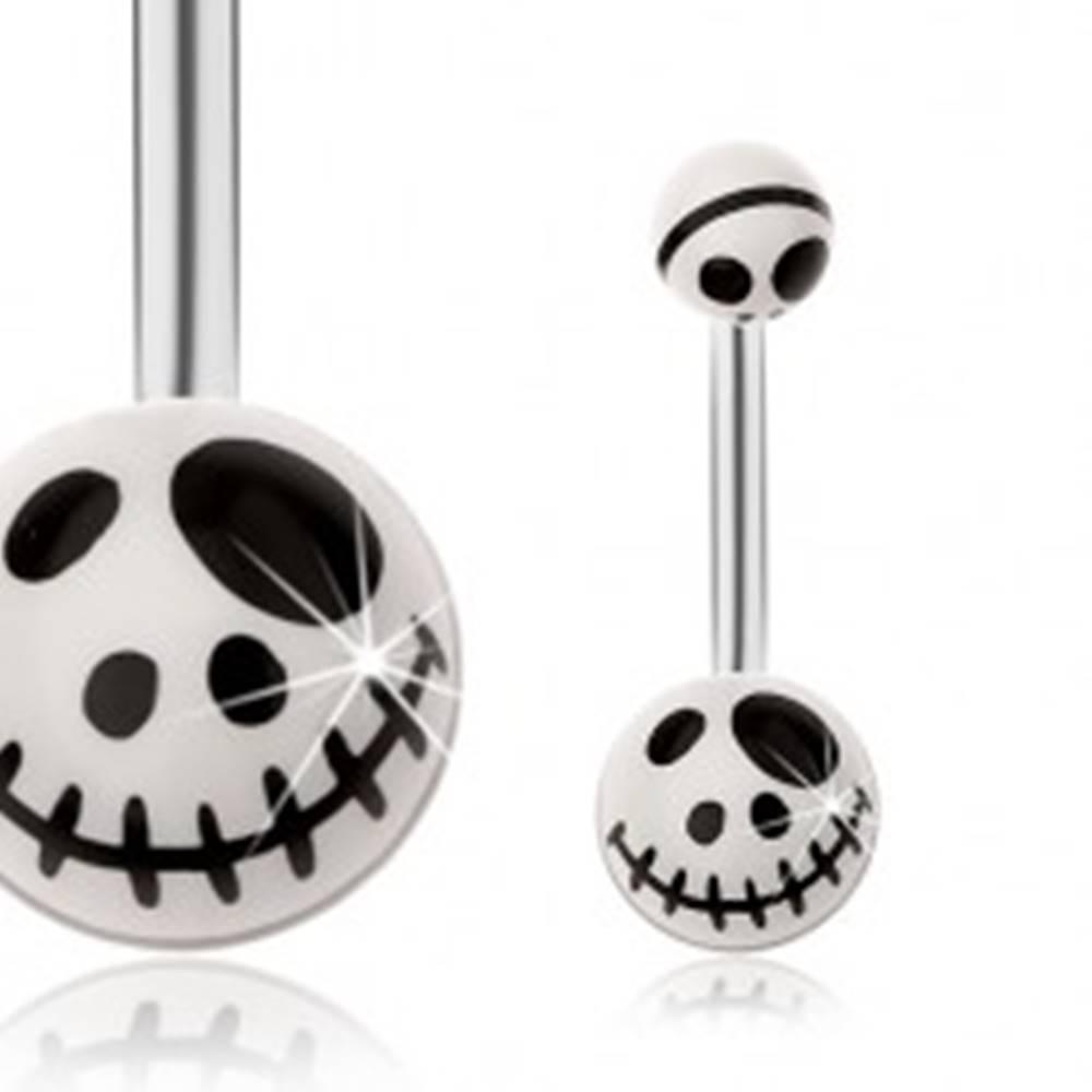 Šperky eshop Oceľový piercing do brucha, motív lebky z animovanej rozprávky - biela farba