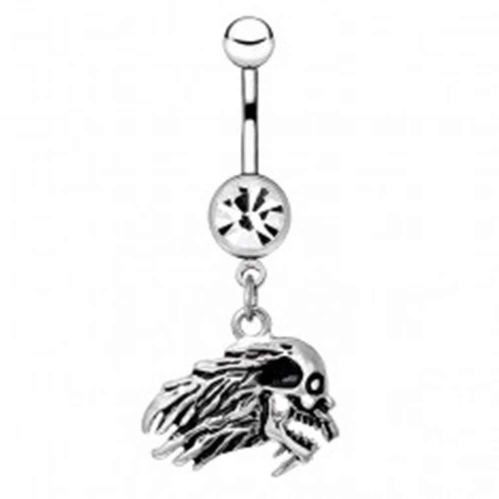 Šperky eshop Oceľový piercing do bruška - profil lebky s vlasmi, zirkón