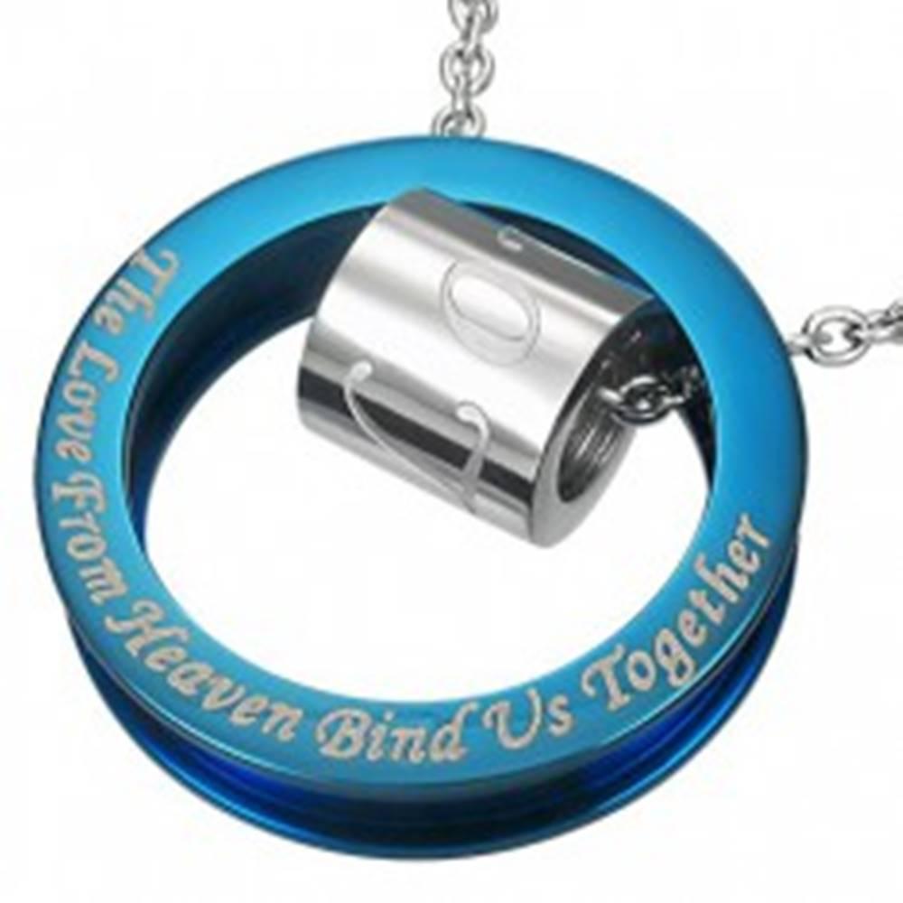 Šperky eshop Oceľový prívesok modro-striebornej farby - výrok o láske