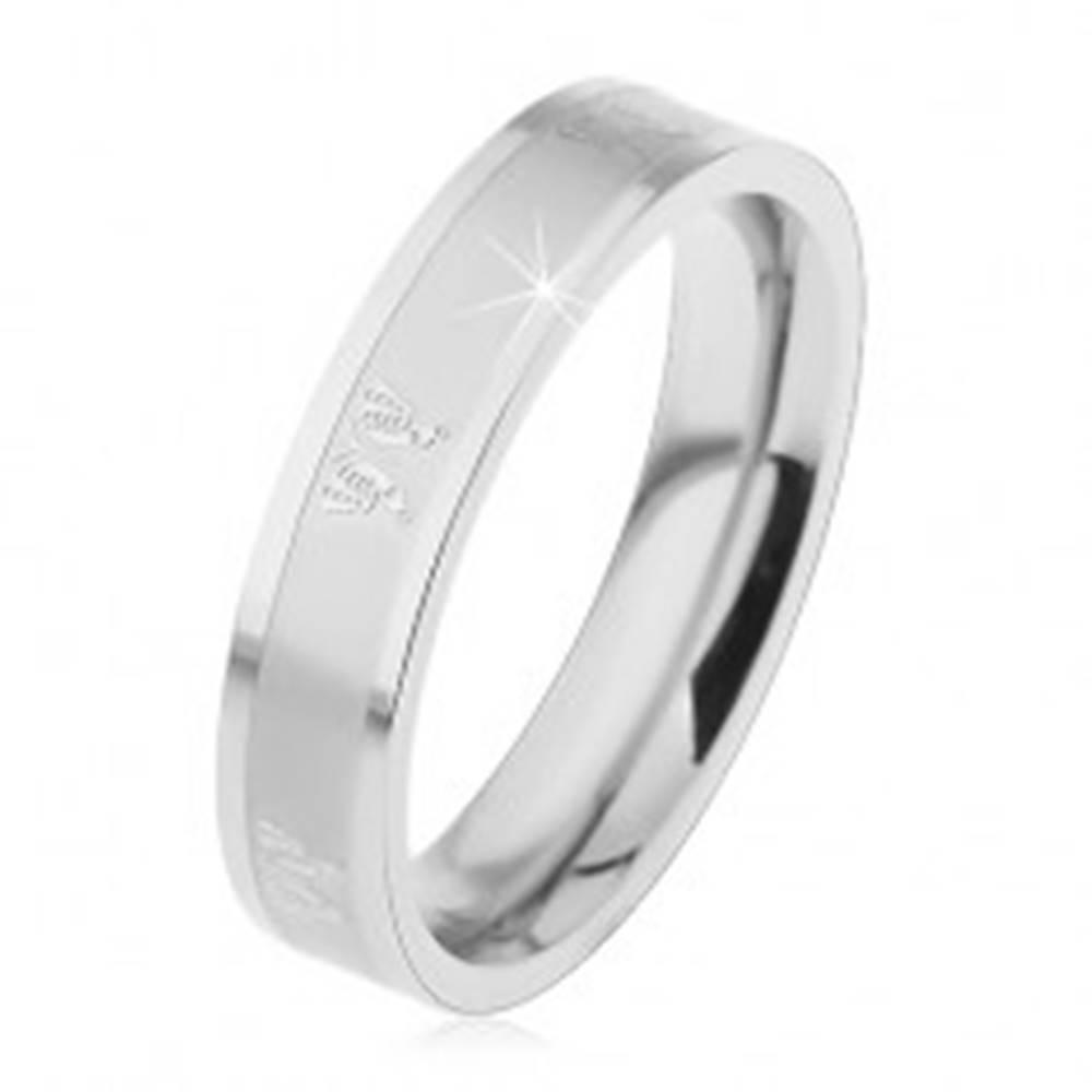 Šperky eshop Oceľový prsteň pre deti, lesklo-matný povrch striebornej farby, motýliky - Veľkosť: 44 mm