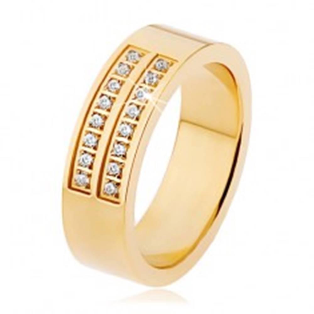 Šperky eshop Oceľový prsteň zlatej farby, dvojitá línia čírych zirkónov - Veľkosť: 53 mm