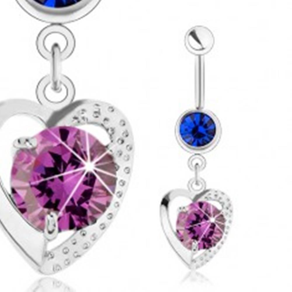 Šperky eshop Piercing do brucha, oceľ 316L, obrys srdca, modrý a fialový zirkón