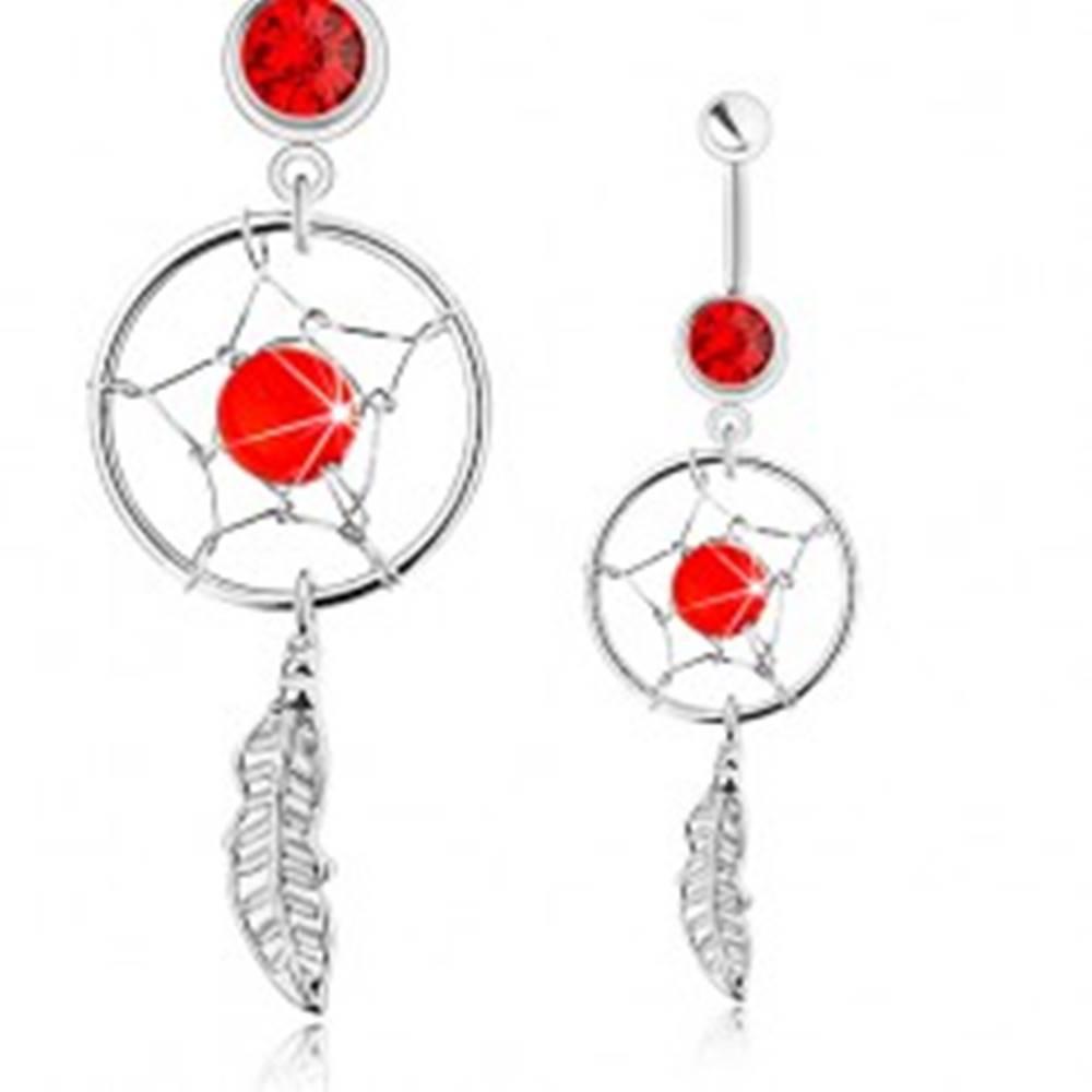 Šperky eshop Piercing do bruška, chirurgická oceľ, lapač snov, pierko, červený zirkón a korálka