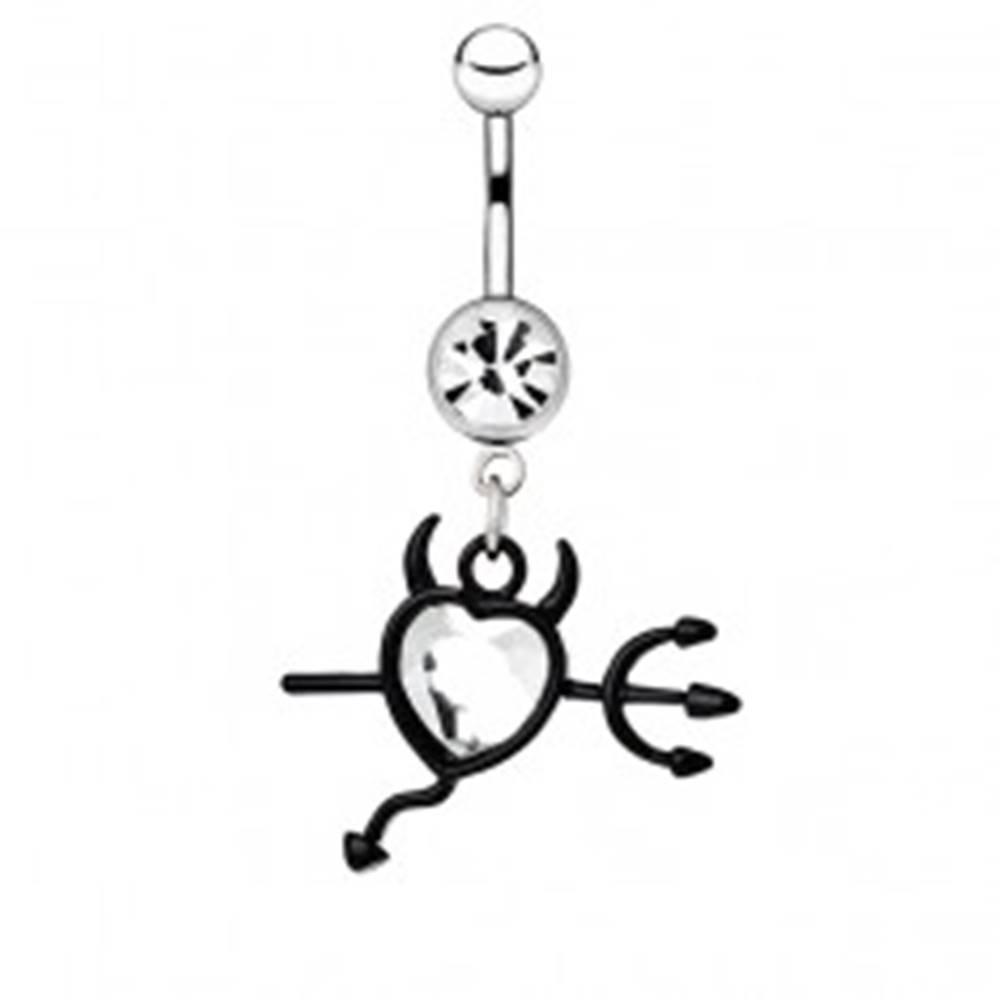 Šperky eshop Piercing do bruška z ocele - srdce, čierne vidly, rohy a chvostík - Farba zirkónu: Červená - R