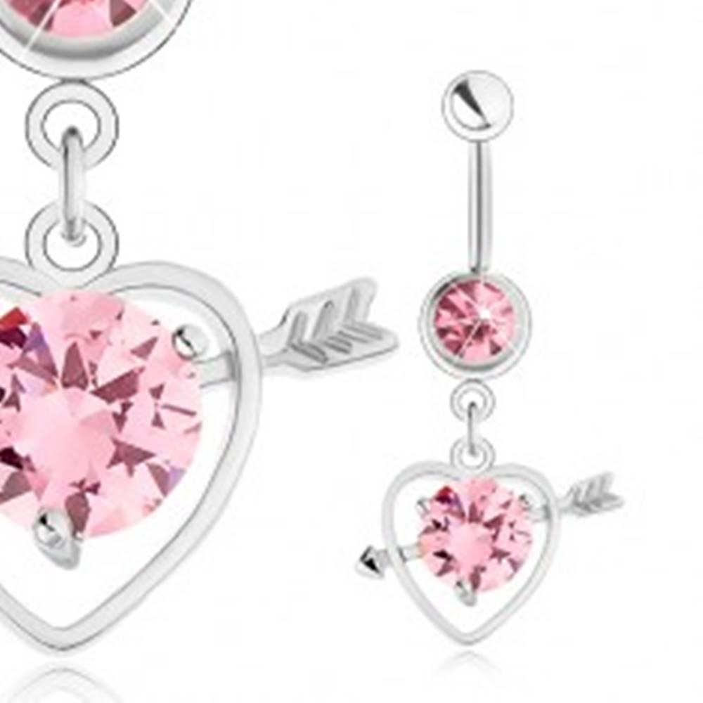 Šperky eshop Piercing do pupku, oceľ 316L, obrys srdca so šípom, ružový zirkón