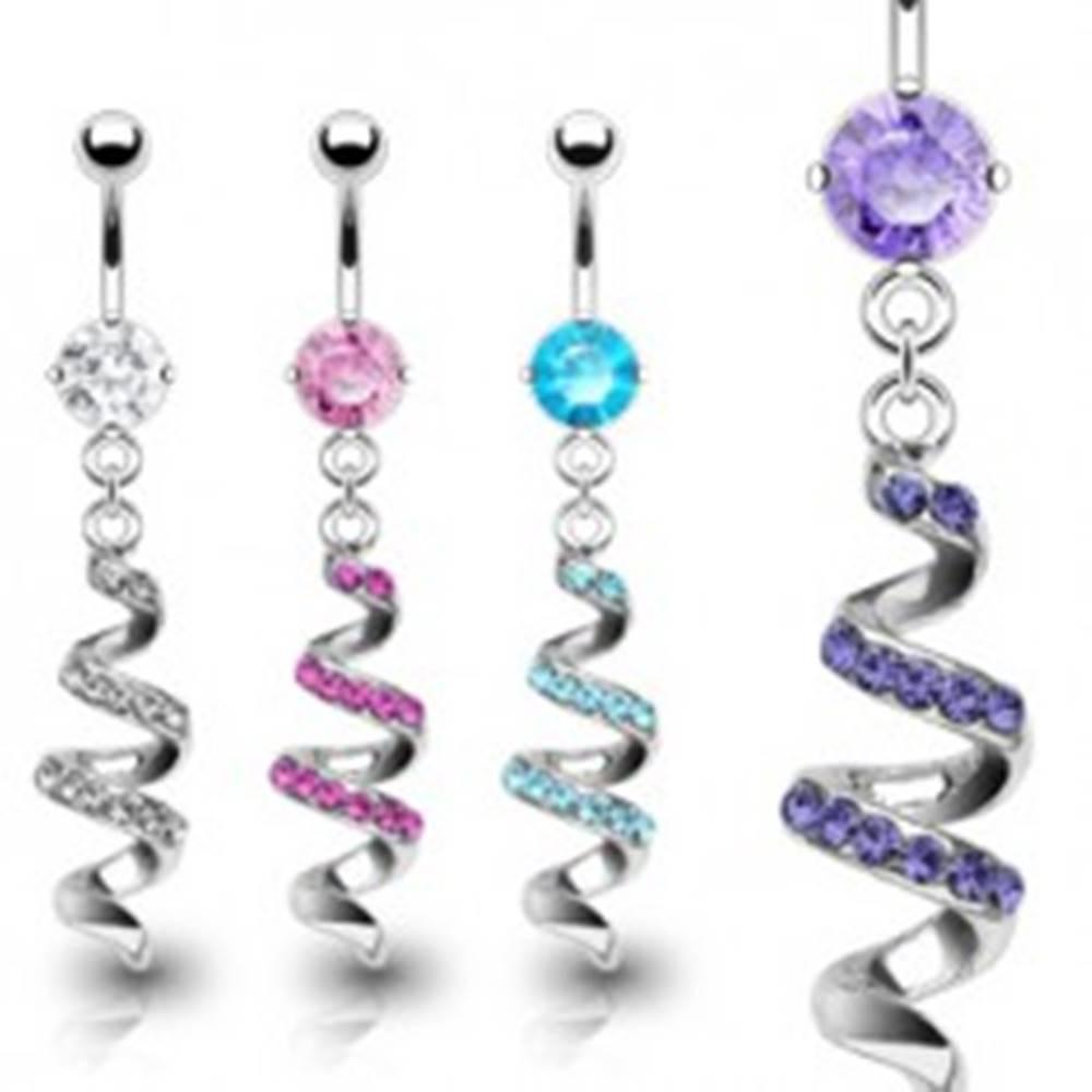 Šperky eshop Piercing do pupku z ocele - špirála vykladaná zirkónmi - Farba zirkónu: Aqua modrá - Q