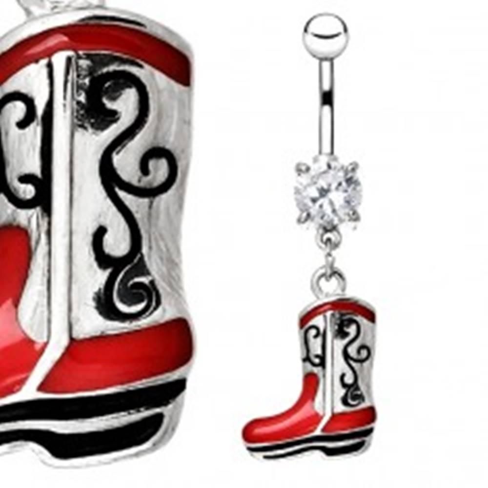Šperky eshop Piercing z chirurgickej ocele do pupka - čižmička v striebornej farbe