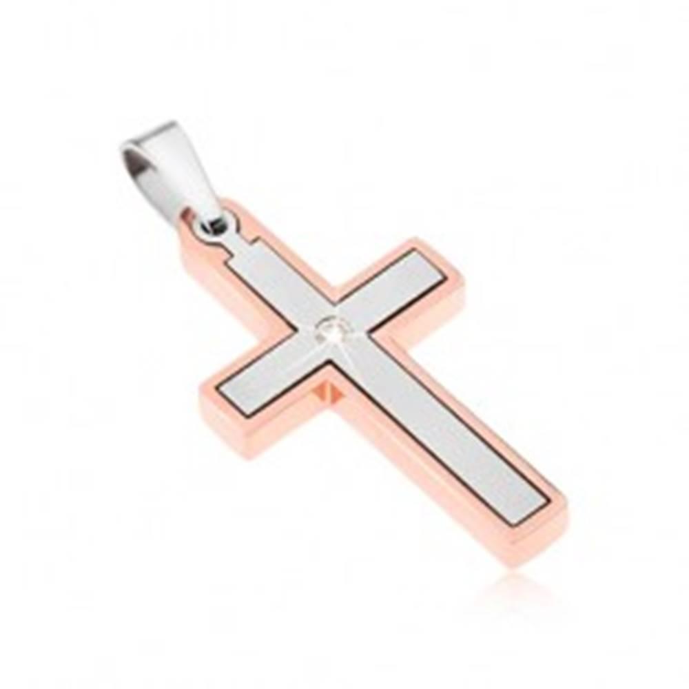 Šperky eshop Prívesok z ocele, krížik medenej a striebornej farby, číry zirkón