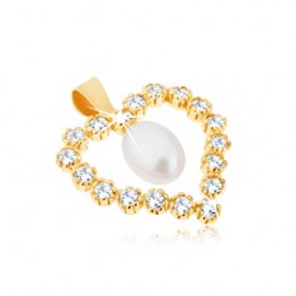 Šperky eshop Prívesok zo žltého 9K zlata, zirkónová kontúra srdca, slzičková perla v strede