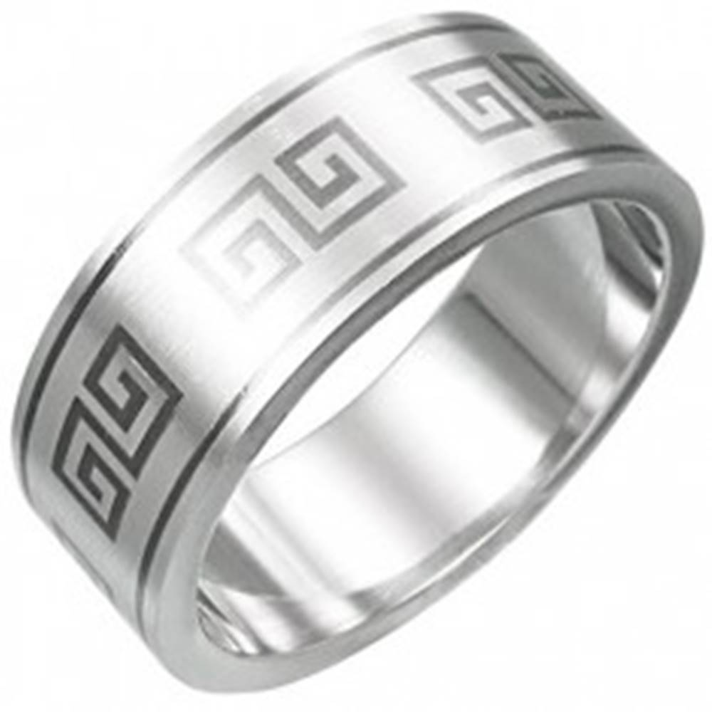 Šperky eshop Prsteň z chirurgickej ocele - grécky motív - Veľkosť: 53 mm