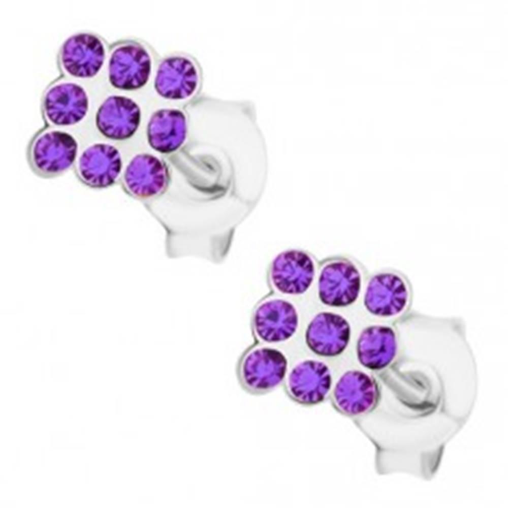 Šperky eshop Puzetové náušnice, striebro 925, drobné fialové krištáliky Swarovski - štvorec