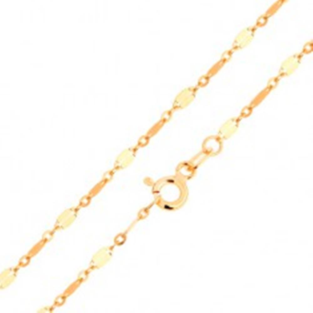 Šperky eshop Retiazka v 14K zlate - dva menšie a jeden väčší oválny článok, 500 mm - Dĺžka: 500 mm