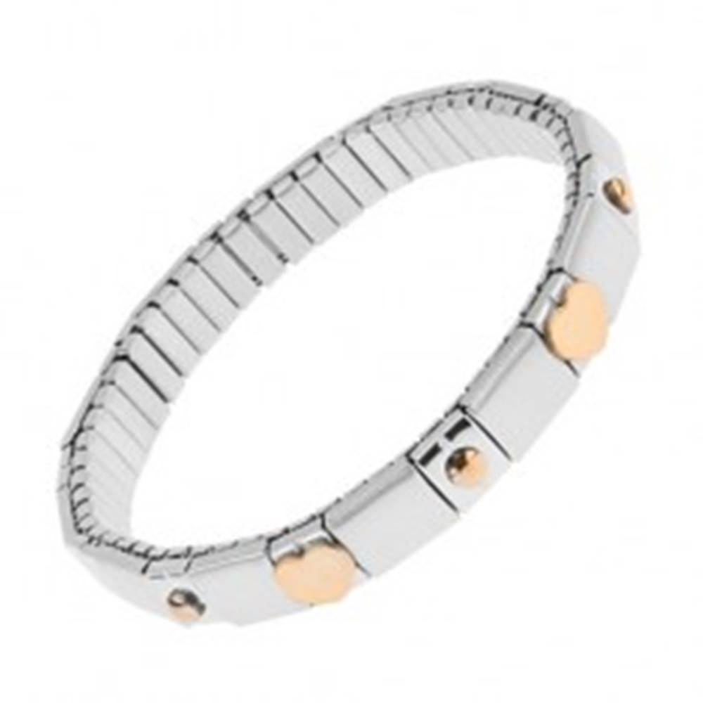 Šperky eshop Rozťahovací náramok z ocele striebornej farby, lesklé a matné pásiky, guličky, srdcia