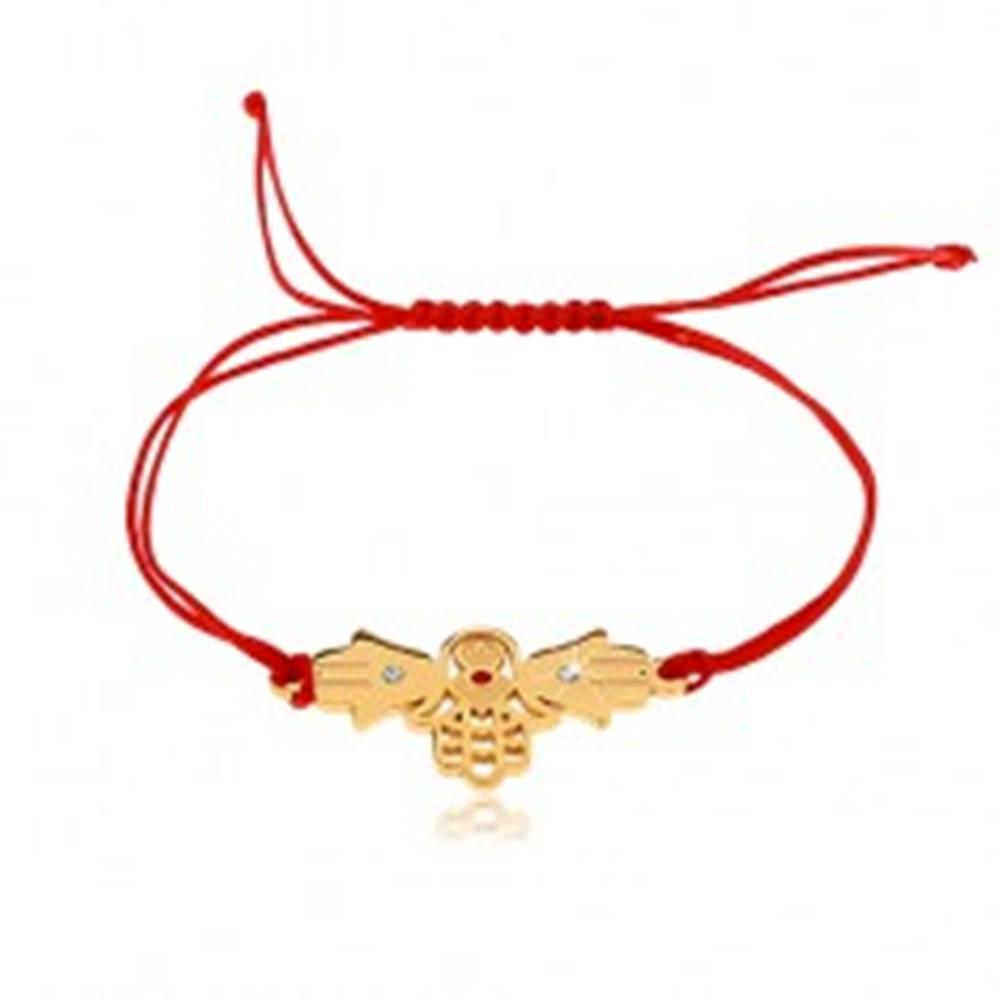 Šperky eshop Šnúrkový náramok v červenom odtieni, tri spojené ruky Fatimy, číre zirkóny