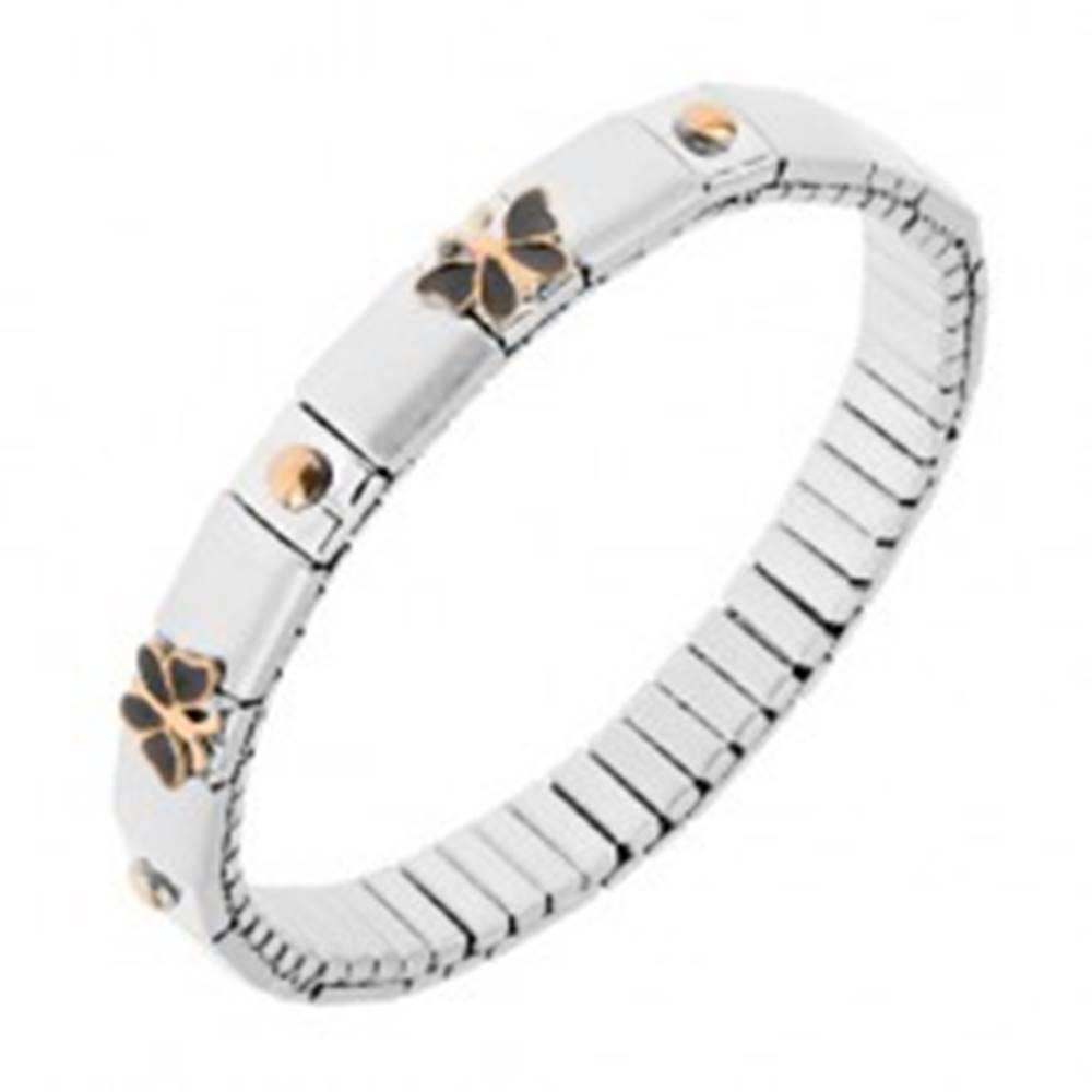 Šperky eshop Strečový náramok z ocele, strieborná farba, guličky, motýle