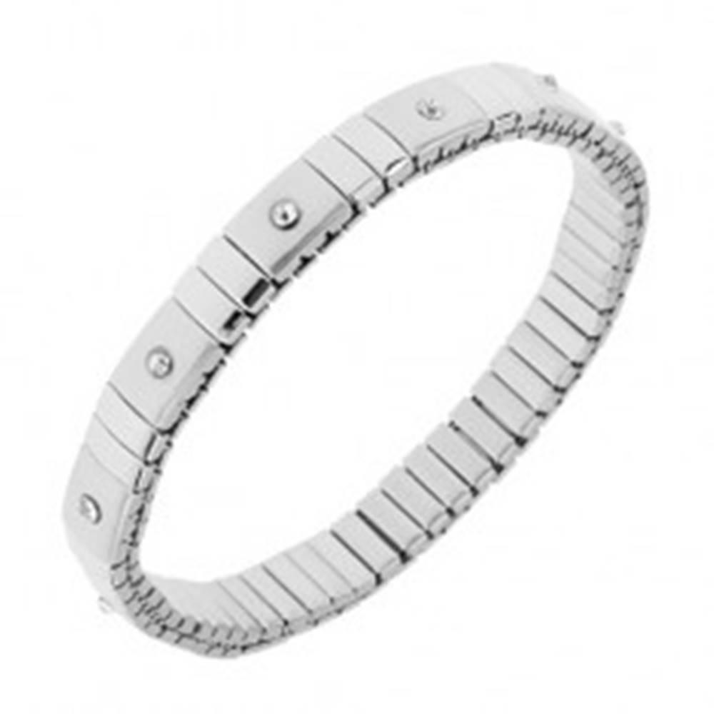Šperky eshop Strečový oceľový náramok striebornej farby, lesklé a matné články, zirkóny