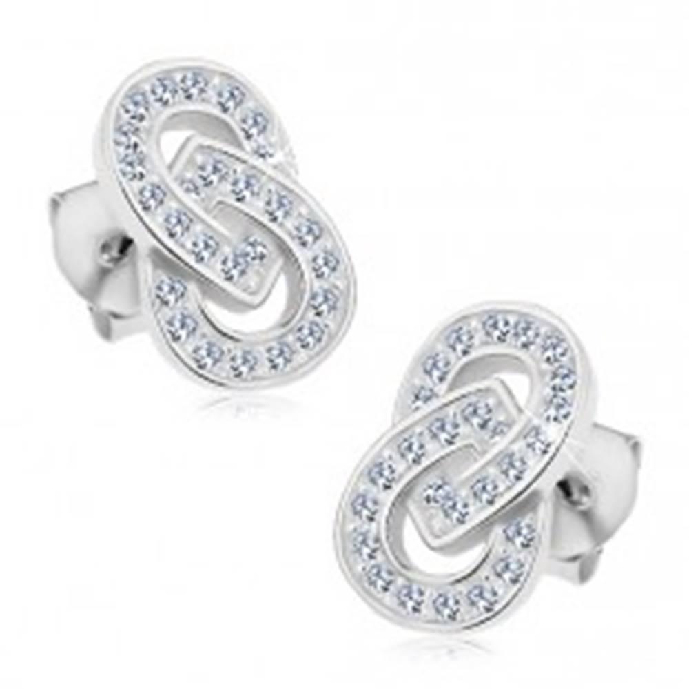 Šperky eshop Strieborné náušnice 925, prepojené obrysy kvapiek, číre zirkóniky, puzetky