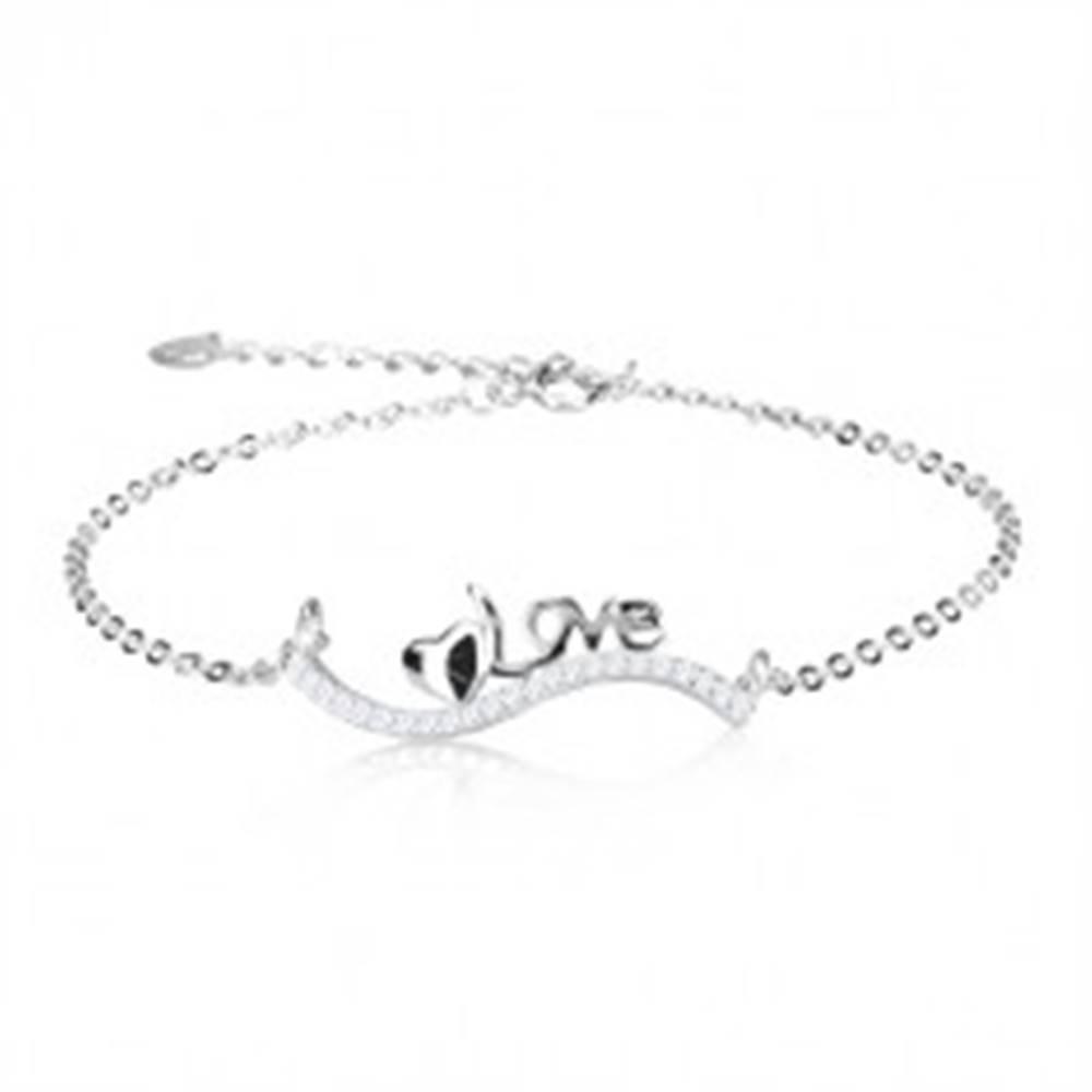 Šperky eshop Strieborný 925 náramok, vlnka z čírych zirkónov, lesklé srdiečko a nápis Love