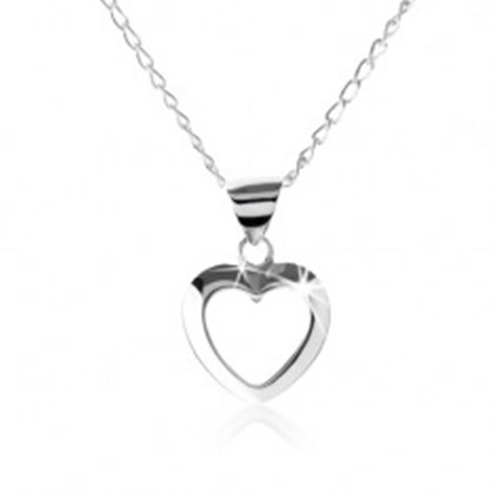 Šperky eshop Strieborný náhrdelník 925, kontúra symetrického srdiečka