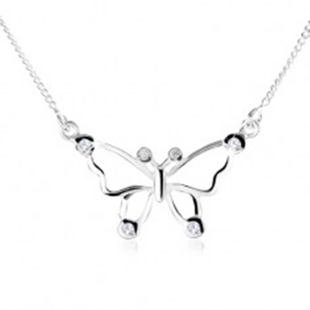 Šperky eshop Strieborný náhrdelník 925, obrys motýľa ozdobený čírymi zirkónmi