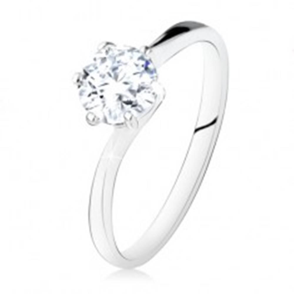 Šperky eshop Strieborný zásnubný prsteň 925, okrúhly číry zirkón, úzke ramená - Veľkosť: 49 mm