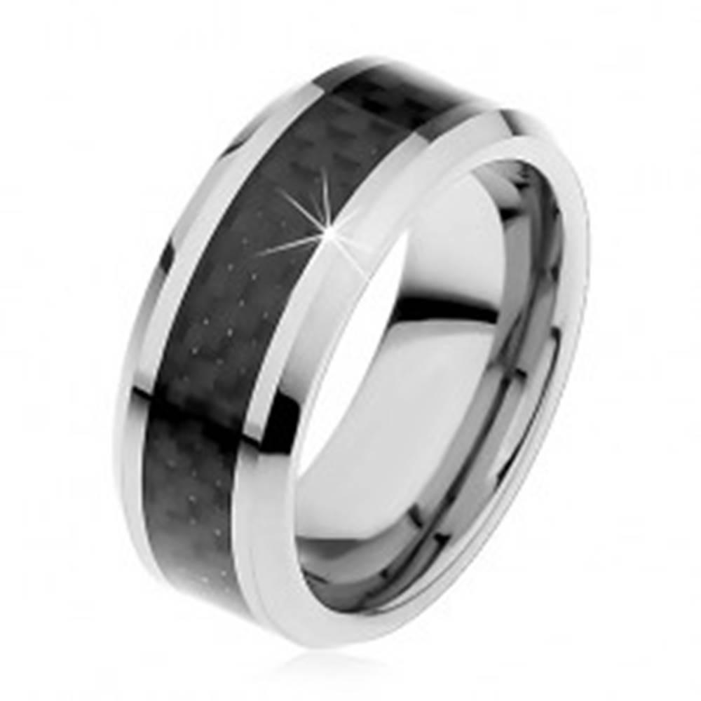 Šperky eshop Tungstenová obrúčka striebornej farby, stredový pás z čiernych vlákien, 8 mm - Veľkosť: 49 mm