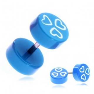 Fake piercing do ucha z akrylu - modré kolieska a srdiečka
